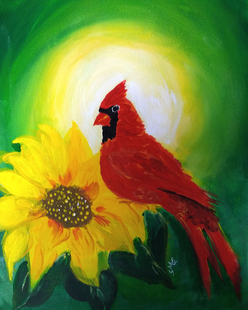 Painting of cardinal sitting on sunflower with sunrise in background