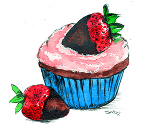 Cupcake and strawberries pen and ink drawing
