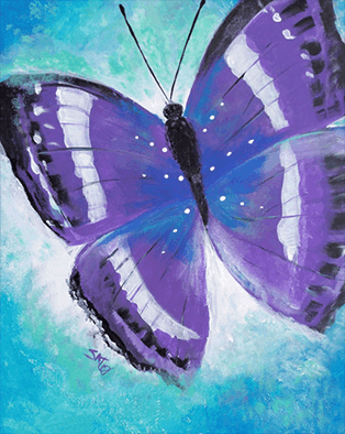 Purple butterfly with blue background