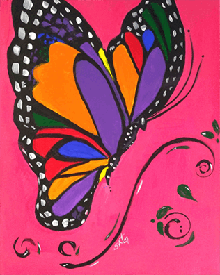 rainbow butterfly on pink background
