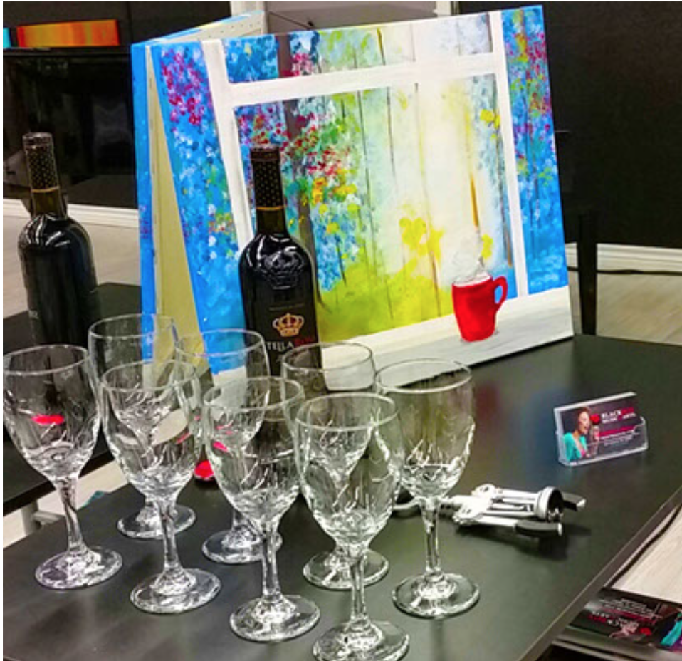 wine, wine glasses and painted canvas